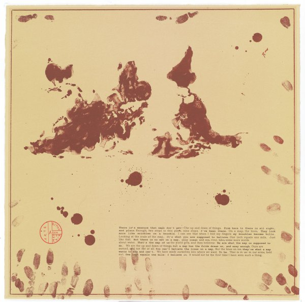Upside Down World Map from You Are Here, Enrique Chagoya, with Alberto Rios, Printed by Segura Publishing Company, lithograph