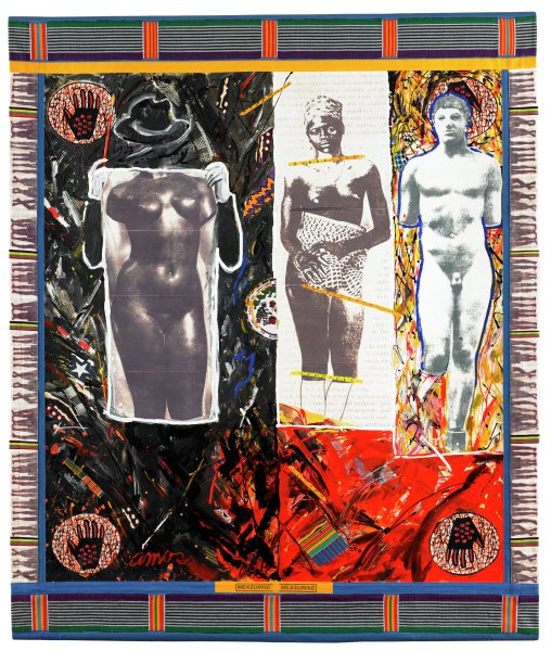 Painted linen canvas, bordered by blue canvas. Kente accents on the top and bottom borders and white canvas pictured with women's stocking-ed legs accent the left and right borders. There is also a smaller yellow canvas border at the top. Each corner of the painting's image is anchored by hands that are encased in circular forms with web-like backgrounds. The painting's image is also divided into three sections. The left section has a black background, created by broad, quick brush strokes. The background also includes cut pieces of Kente cloth, string, and other printed fabric. The faceless, ghost-like figure wears a black hat and white gloves. This figure also holds a paint brush in its right hand. Primarily the figure holds a picture of a bronze female nude. The central section's background is comprised of an essay on Greek art, with the lettering faded out in areas closest to the central figure's body. The figure in this portion of the painting is a young black woman, wrapped in Kente cloth at the waist, but whose breasts are exposed. She wears a simple necklace, as well as rings, bracelets, and head kerchief. Her body is visually dissected at the neck, pelvis, and knees by painted portions of a yellow measuring tape. Next to her figure in the center of the painting itself is half of a circular textile – words read: EN NAWTORO and NON WATTA KO BURK. This particular piece also includes imagery of an African woman with her child on her back, throwing a ceramic bowl. The right side of the painting contains the third and last figure. Set upon a yellow background composed of yellow, black, blue, and red paints applied in quick, broad, scribbled brush strokes and drip patterns. The figure itself is a picture of the 5th century Greek Kritios Boy. His form is delineated by a heavy blue outline and Amos also exaggerated the figure's curly hair. The bottom right side of the painting is comprised of a red-orange background, also created by busy, broad brush and drip patter