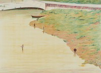 Fishing on the Arno, Alvin Ross, lithograph on Arches paper
