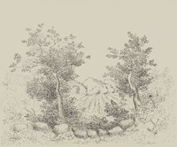Trees and Field, Léon Hartl, crayon lithograph on Arches paper