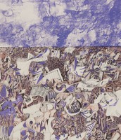 Field of Scrap, Antonio Frasconi, crayon and pen lithograph on Arches paper