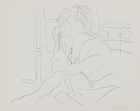 Seated Woman, Rosemarie Beck, crayon lithograph on Arches paper