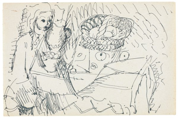 Sketch of figure at a table. The figure is seen on the left of the composition near a table with a water pitcher and bowl of food. Other various shapes populate the composition.
