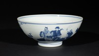 Blue-and-White Bowl with Zhang Guolao and Crane Riding a Cloud Interior and Eight Taoist Immortals Exterior