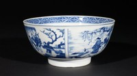 Blue-and-White Bowl with Confucious and a Woodcutter Interior and Confucious Traveling Exterior