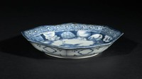 Porcelain blue and white dish with crane pattern