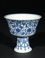 """Tall Footed Blue-and-Whiter Butter Lamp with Lotus Motifs and """"Om Mani Padme Hum"""" Mantra of Guanyin (Avalokiteshvara)"""
