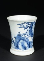 Brush pot with decoration of figures in a landscape