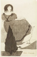 A woman stands behind a shrubbery holding her dress up with her right hand. She stands beside a goose. She faces backwards but turns her head toward the viewer.