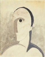 Stylized profile portrait of André Salmon shown with an elongated face and nose.