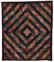 """Wool """"log cabin"""" quilt in pattern of squares broken on a black ground, the squares forming a larger, diamond pattern, backed in satin"""