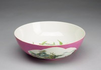 Bowl with Peach Interior and Two Cartouche Images of Penglai, Island of the Taoist Immortals Exterior