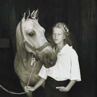 Jenelle with Bucky, Mary Noble Ours, gelatin silver print