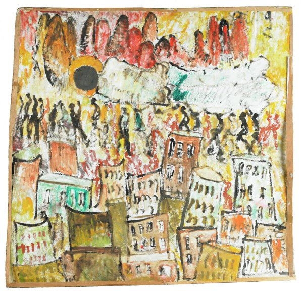 This work was painted in animated marks that register as pattern and act to blur distinctions between the figures and their setting. Young has imposed compositional order through a stacked vertical arrangement that builds from urban structures to a row of elongated linear figures, a procession that does not so much carry the huge figure above them as celebrate his ascension into the mountains at the top of the image.