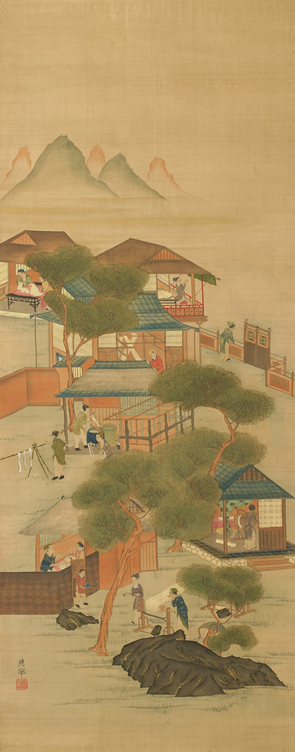 Nestled into mountains by the water are a complex of buildings devoted to silk production. Spinning, dyeing and reeling the silk is portrayed inside and outside the buildings.