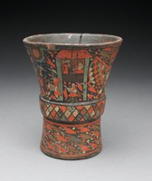 Wooden beaker with flaring shape, wider at top, decorated with inlaid pigmented resin. Cup divided into upper and lower sections by raised rim around center, decorated with repeating diamond and dot pattern. Upper section has procession scene with Inca men in feathered regalia, European men in colonial apparel, and man of African descent playing drum. Lower section of cup has repeating decorative motif.