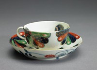Part of an assembled tea service (not originally a set) in the Fan Pattern, derived from Japanese Imari or Arita ware