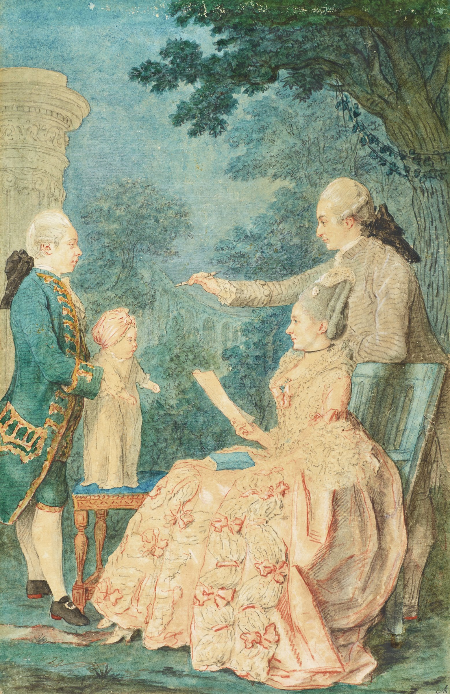 A family is portrayed in profile. On the right, a woman sits in a chair with a book resting in her lap. She holds a sheet of paper in her right hand. A man leans on the back of her chair holding out a writing utensil. On the left, another man stands holding onto a young child that stands on a stool.