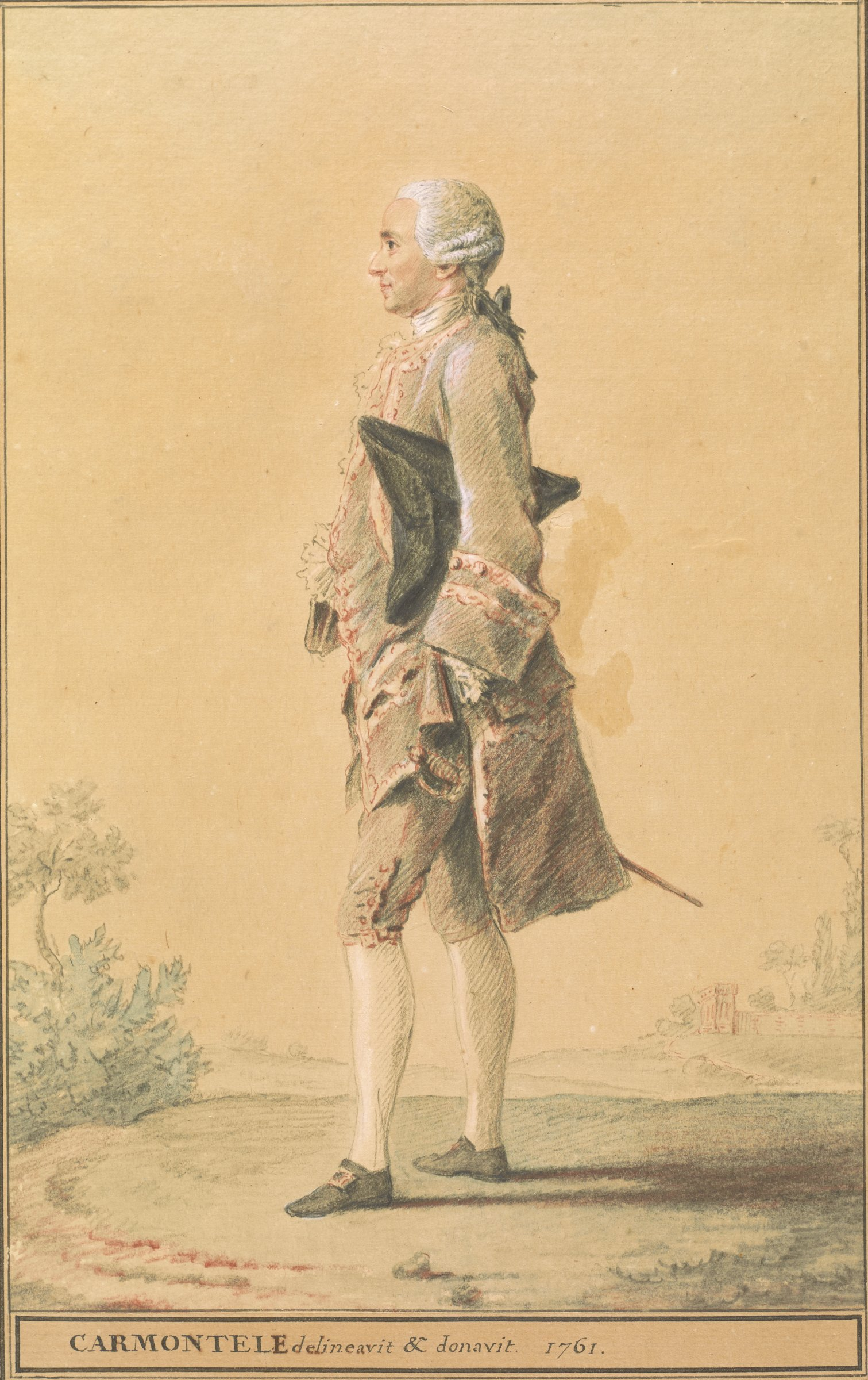 Standing man facing left with a tricorn hat tucked under his left arm, and a sword hanging from his right side. He stands in a minimal landscape with a building in the far right distance.