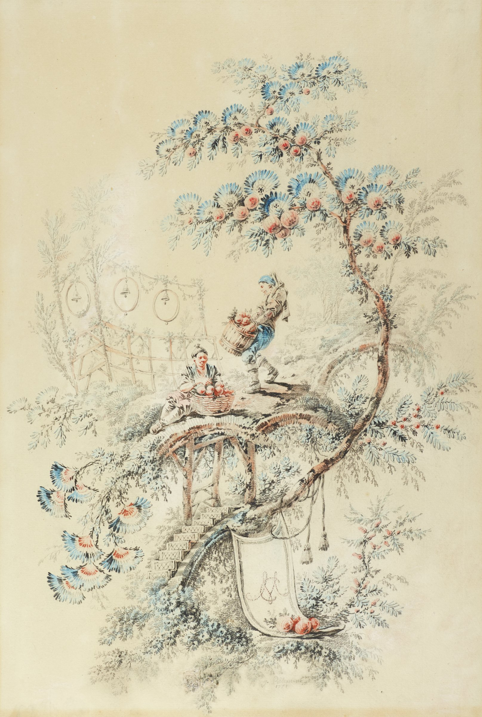 Two figures gather fruit along a pathway. A  tree with fan-like blue leaves and pink fruit runs alongside the pathway.