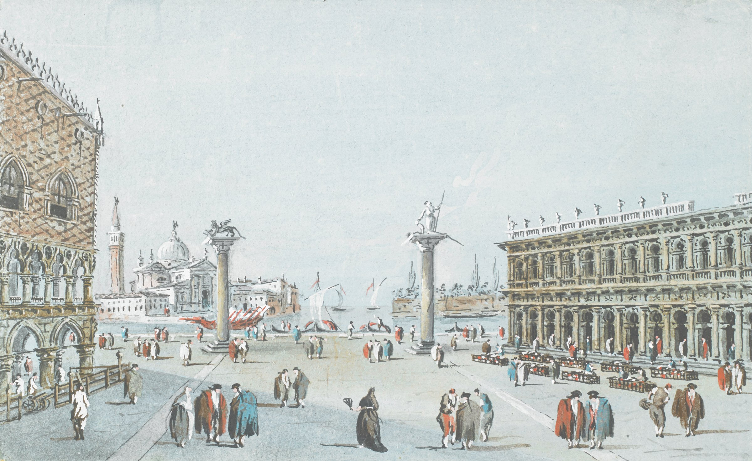 Scene of a city square in Italy. Singular figures and groupings of two and three figures are scattered throughout the square. Between two far pillars decorated with sculptural elements is a view of water with ships. In the background on the right is a basilica.
