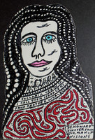 Woman's face with blue eyes, black hair with white spots, and red and white top.