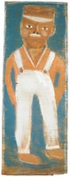 Vertical painting of a man in white overalls