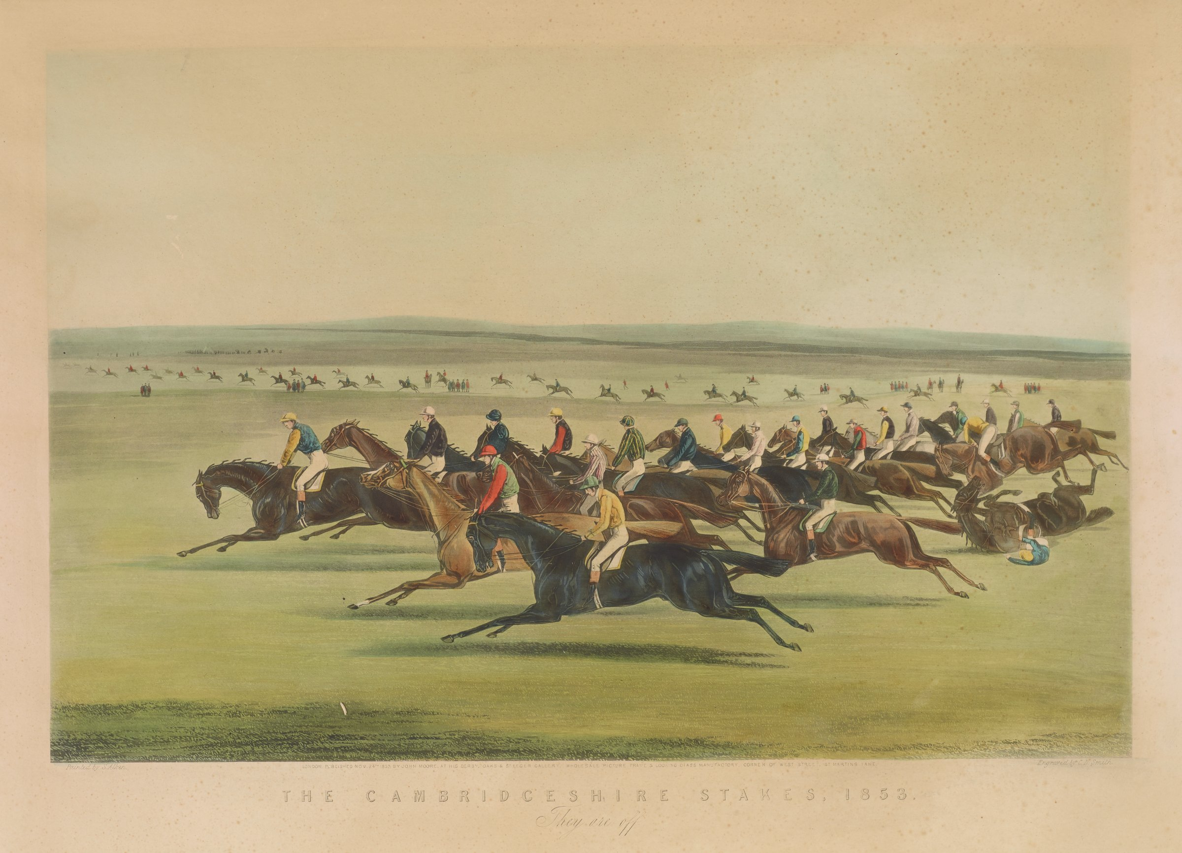 Scene of a group of jockeys riding horses. One horse and jockey fall on the ground on the right. In the middleground, more riders are seen in a vast, open landscape.