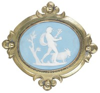 Small oval medallion of solid light blue jasperware with white jasper bas relief of the god Mercury in a landscape striding right with his attributes the caduceus in his left hand and a goat or ram symbolizing fertility behind him, set in a brass mount with decorative elements on each side.