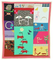 Large, colorful quilt comprised of various fabrics in an irregular grid pattern featuring 13 biblical proverbs, depicted through geometric motifs and images of people and animals, including: People who live in glass houses shouldn't throw stones; All that glitters is not gold; What goes around, comes around; To enter the Kingdom of God, you must walk a straight and narrow path; A light on a hill cannot be hidden; You have to crawl before you can walk; Why focus on the speck of dust in someone else's eye when you have a log in your own; The grass is always greener on the other side of the fence; He who laughs last, laughs best; Mothers do not wear crowns; Don't bite the hand that feeds you; A bird in the hand is worth two in the bush; Don't just put your foot down, plant it.