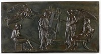 """Large black basalt tablet with the scene of the """"Apotheosis of Homer"""" with traces of bronzing."""