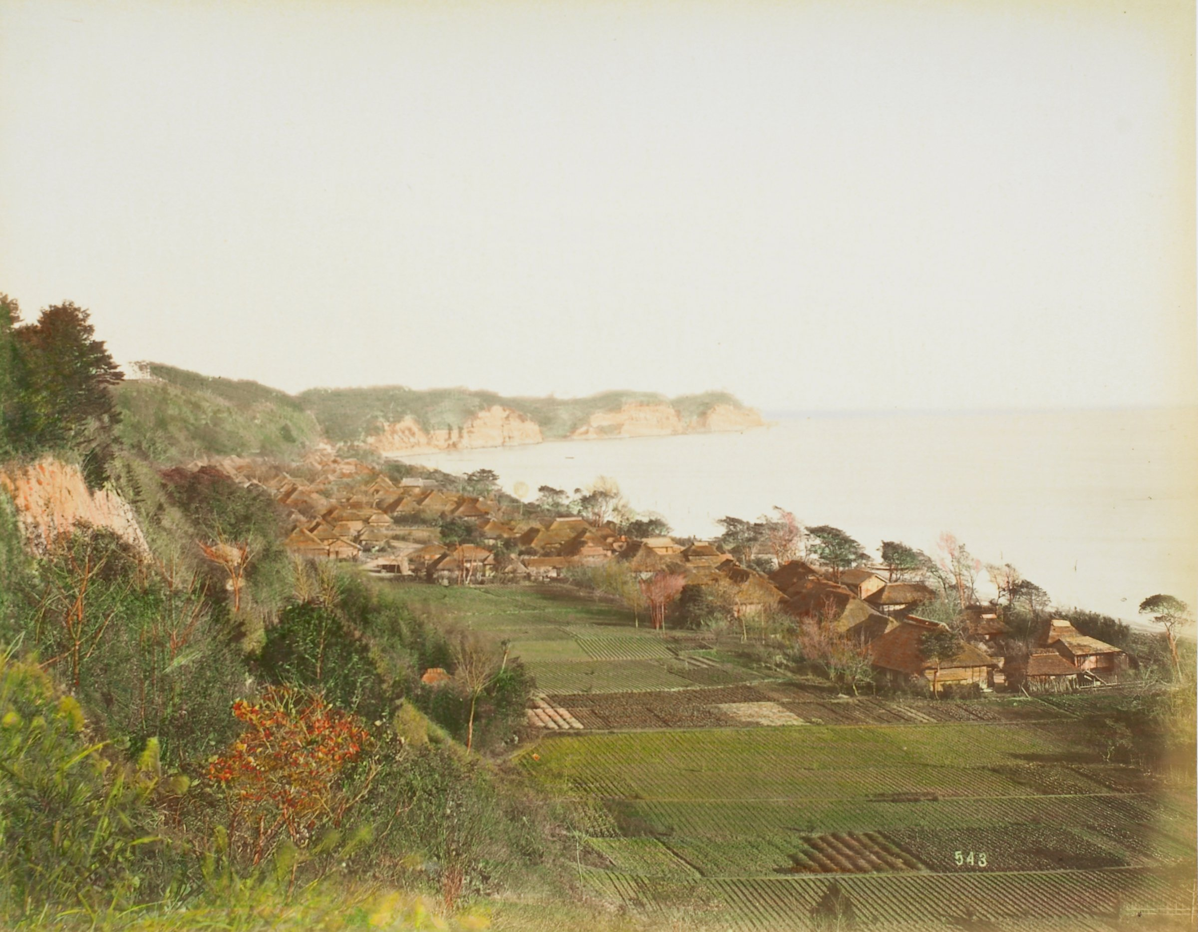 View of Mississippi Bay, Yokohama (.26, recto); Shinto Temple Hachiman (.27, verso), Attributed to Kusakabe Kimbei, hand-colored albumen prints mounted to album page