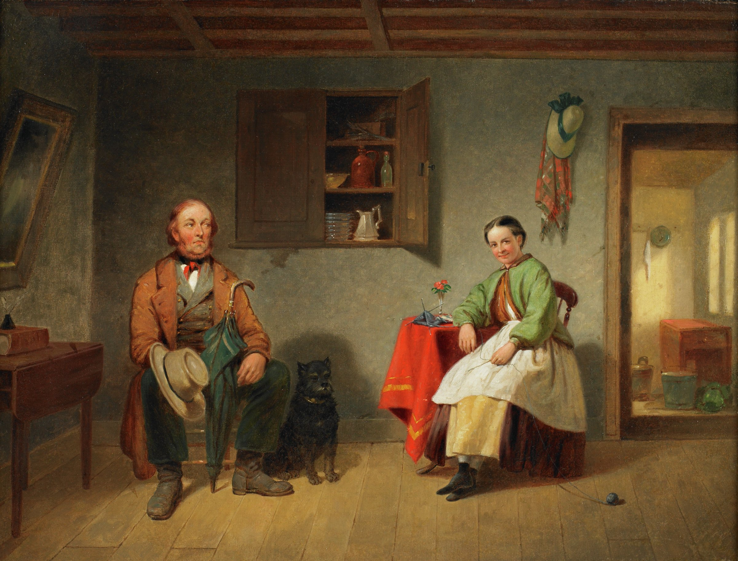 Interior scene with a middle-aged bearded man seated to the left with a hat in one hand and his green umbrella leaning against his arm. A Scottish terrier is at his side, to the right. A young woman is seated at right with her right arm resting on a table with red tablecloth. Her knitting is on the table and the ball of yarn is on the floor. A cabinet with dishes is on the wall between the couple. A door is at far right and a straw bonnet and plaid shawl hang from a peg to the left of the door.