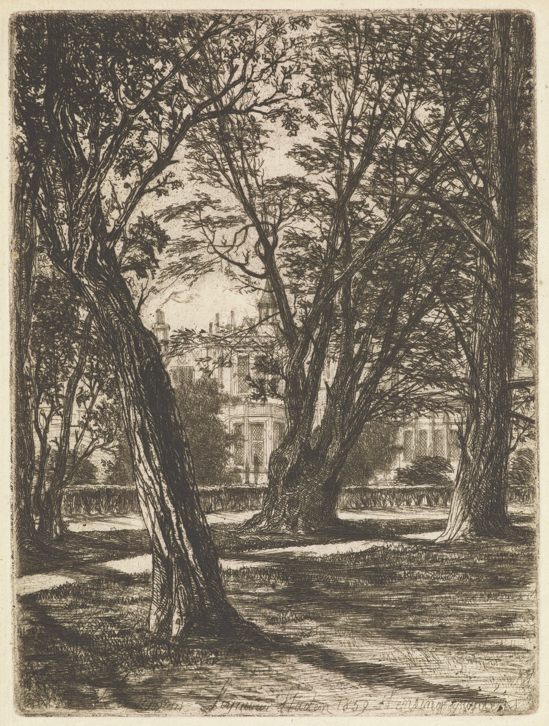 Behind a grove of trees a large house is seen. This is a depiction of Lord Harrington's house from Kensington Garden.
