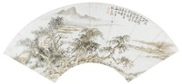 Landscape, Zhang Lanqiu, ink and color on mica ground paper