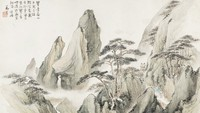 Layered Greenery, the Spring Mountains in Album Folio Format, Zheng Chang, ink and color on paper