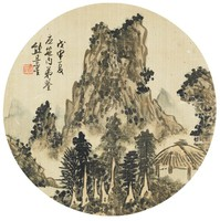 Summer Landscape with Pavilion in Round Fan Format, Xiong Jingxing, ink and color on silk