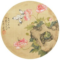 Flowers and Butterflies, Zhu Lian, ink and color on silk