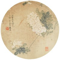 Flowers, Zhu Xi, ink and color on silk