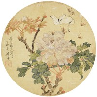 Peonies, Zhu Lian, ink and color on silk