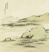 Fishing Late at Fang You, Liang Youwei, ink and color on silk