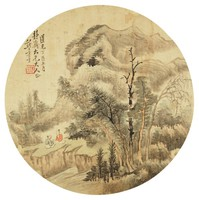 Spring Landscape in Round Fan Format, Xiong Jingxing, ink and color on silk