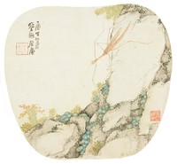 Walking Stick, Zhu Lian, ink and color on silk