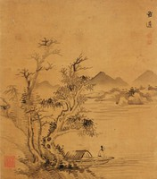 Landscape, Attributed to Mo Chi, ink on silk