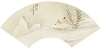 Composing Poetry in the Snow Amidst Blossoming Plum Trees Painted Using the Style of Muzi in Folding Fan Format, Liang Youwei, ink and color on silk