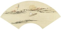 """""""Sailing with Guests on Autumn Waters"""" in Folding Fan Format, Liang Youwei, ink and color on silk"""