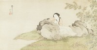 Lady Lounging on a Rock at Water's Edge During Summer in Album Folio Format, Zhu Lian, ink and color on silk