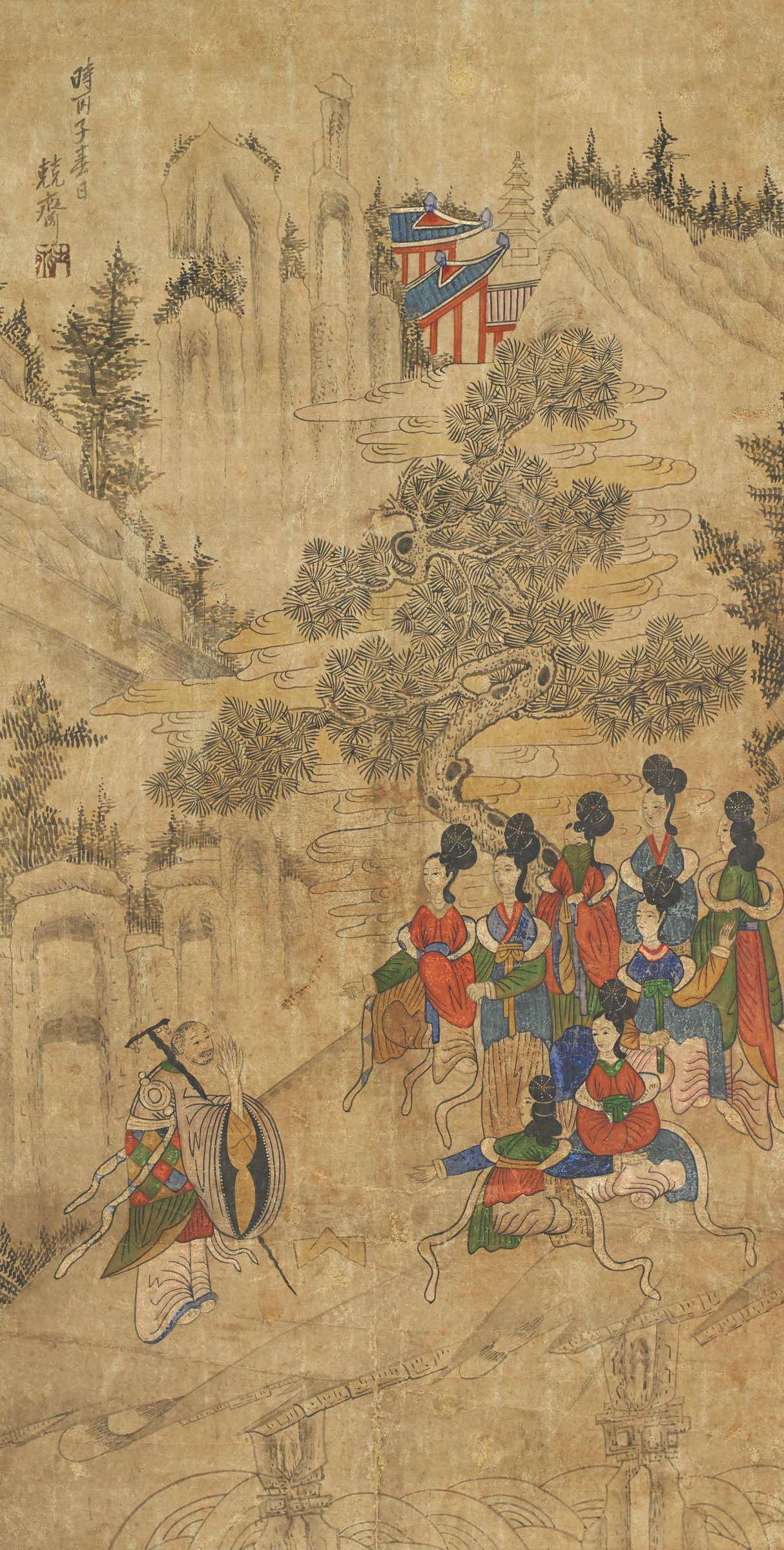 """The Monk Seongjin Greets Eight Fairy Women, Scene from """"The Nine Cloud DreamMonk with a group of ladies"""