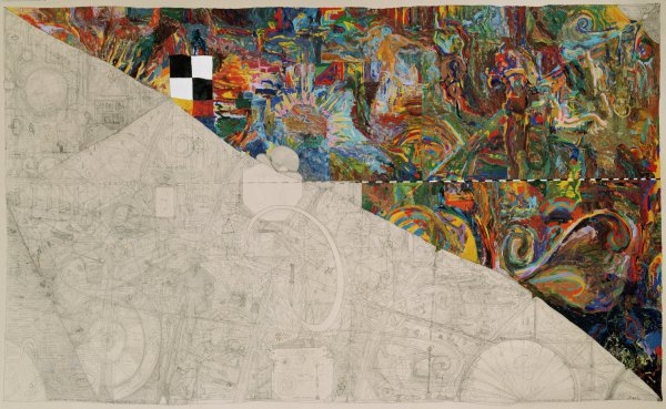 Wiley has diagonally bisected this composition into a heavily painted upper section of dense patterns, and a lower section in which he drew on the raw canvas in pencil, creating a vast network of doodles, notes, visual puns, and diagrams.
