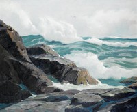Rocks and Waves, Anthony Thieme, oil on canvas